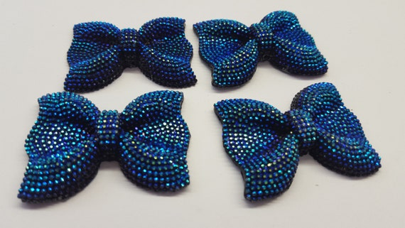 Purple Blue AB Large Flat Back Chunky Resin Rhinestone Embellishment Bows C9