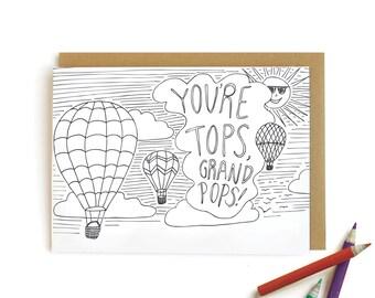 Hot Air Balloon Grandpa - letterpress card