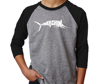 Boy's Raglan Baseball Word Art T-shirt - Marlin - Gone Fishing