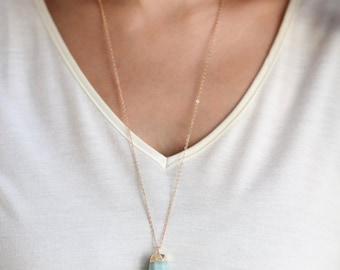 Long Gold Dipped Faceted Amazonite Point Stone Necklace - Gold Plated or Gold Filled Chain