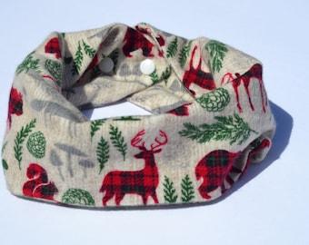 Baby scarf, baby infinity scarf, toddler scarf, buffalo plaid woodland creature scarf, woodland creatures, toddler infinity scarf