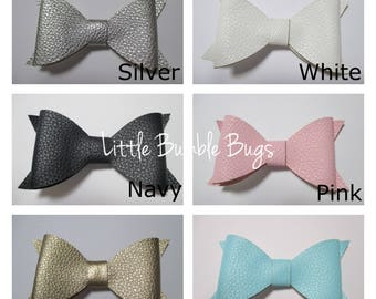 Baby/Toddler/Girl/Adult 4 Inch Faux Leather Hair Bow on Lined Alligator Clip - White