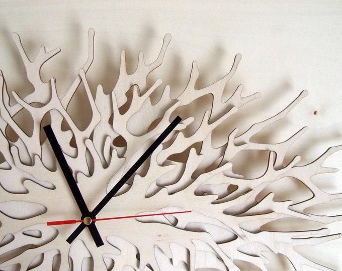 Coral Clock - large wall clock horizontal