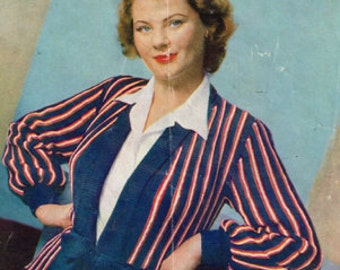 Vintage Women's Knitting Pattern - striped jacket or cardigan - 40s 50s - instant download PDF - knitting patterns for women Ladies sweater