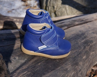 Blue Toddler Boat Shoes Kids Boat shoes First Walking Shoes Childrens Shoes Infant Boots Lace up Suede Leather Boy Girl Size 3 4 5 6 7 8
