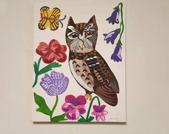 Oil on canvas/Oil painting/Owl painting/Flower painting/Butterfly painting
