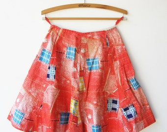 Vintage Red Mini Skirt / Handmade Cotton Skirt / Size XS S