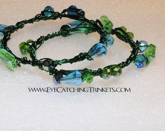 Green wire wrapped bangles
