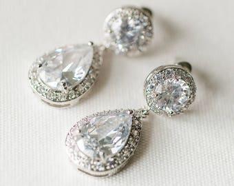 CZ Wedding Earrings, Rose Gold Bridal Earrings,  Crystal Wedding Earrings, CZ Drop Earrings