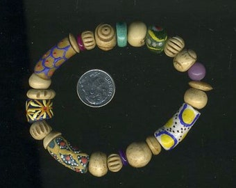 """7 1/3"""" Antique and Primitive Large, Very Old Baluchi Hand Carved Bone Beads Alternating Antique , African Glass, Lilac Jade & More"""