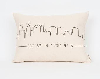 City Skyline Custom Pillow, Housewarming Gift, Apartment Decor, Gift for Him, Gift for Brother, City Art, Skyline Engagement