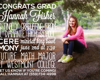 Custom Graduation Photo Announcement with Typography