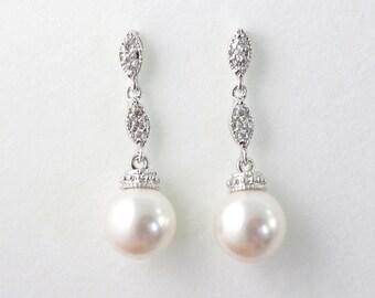 Amanda - Wedding Cubic Zirconia Earrings, Bridal CZ Earrings, Swarovski Pearl Drop Earrings, Vintage Wedding Jewelry, Bridesmaids Earrings