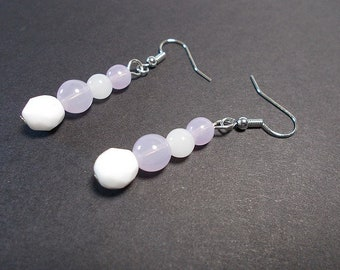 Drop earring beads faceted Bohemian purple, white
