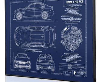 Bmw blueprint etsy bmw f80 m3 laser engraved wall art poster blueprint sign artwork to make the best malvernweather Images