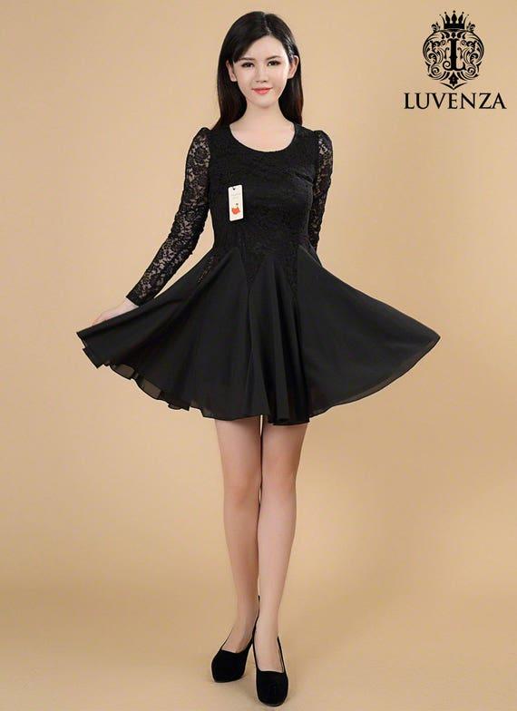 Schwarze Spitze kleine schwarze Kleid schwarz Passform N