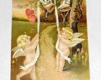 Antique Postcard Cupids Ringing Wedding Bells