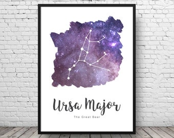 Ursa Major - Constellation Print - Galaxy Decor - Constellation Art - Space Print - Astronomy Print - Astronomy Decor - Galaxy Wall Art
