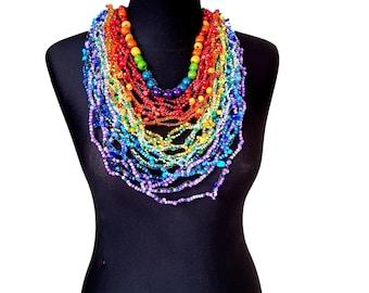 Rainbow necklace Iridescent necklace Beaded Statement necklace Gift for her Tribal necklace Beaded jewelry Long necklace Bohemian necklace