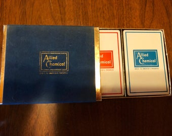 Vintage 1960s Allied Chemical playing cards