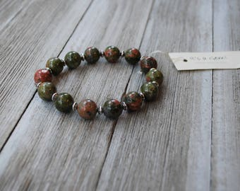 Natural Unakite Jasper Bracelet with Silver Accents - Colourful Smooth Polished Unakite - Beaded Elastic Bracelet - Semi Precious Stone