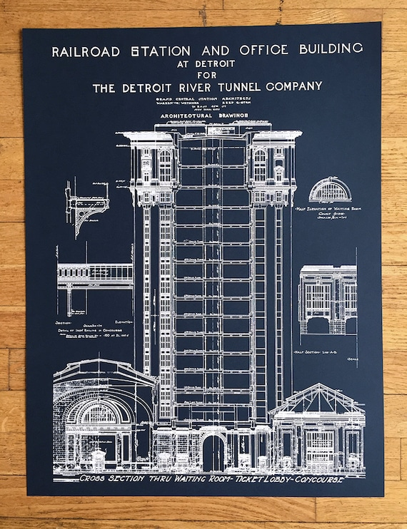Blueprint art print hand pulled silkscreen print detroit like this item malvernweather Images
