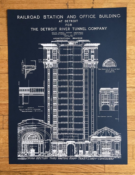 Blueprint art print hand pulled silkscreen print detroit malvernweather Image collections
