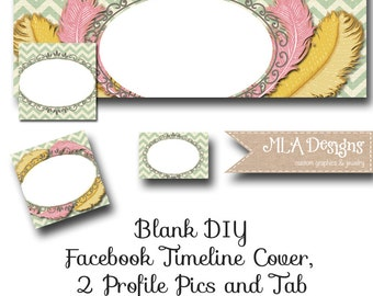 Blank Facebook Timeline Set - Feathers - Customize for your Facebook Business or Personal Page