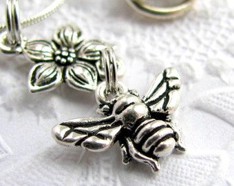 Honey Bee charm necklace, Tierra Cast antiqued silver pewter charm, garden insect bug, polinate polination
