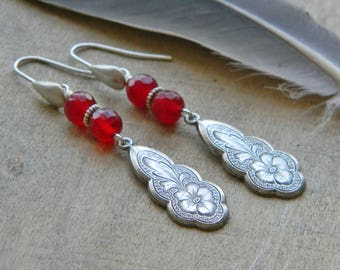 Red earrings romantic jewelry long dangle earrings southwestern style jewelry southwest earrings flower jewerly  gift for her valentines day