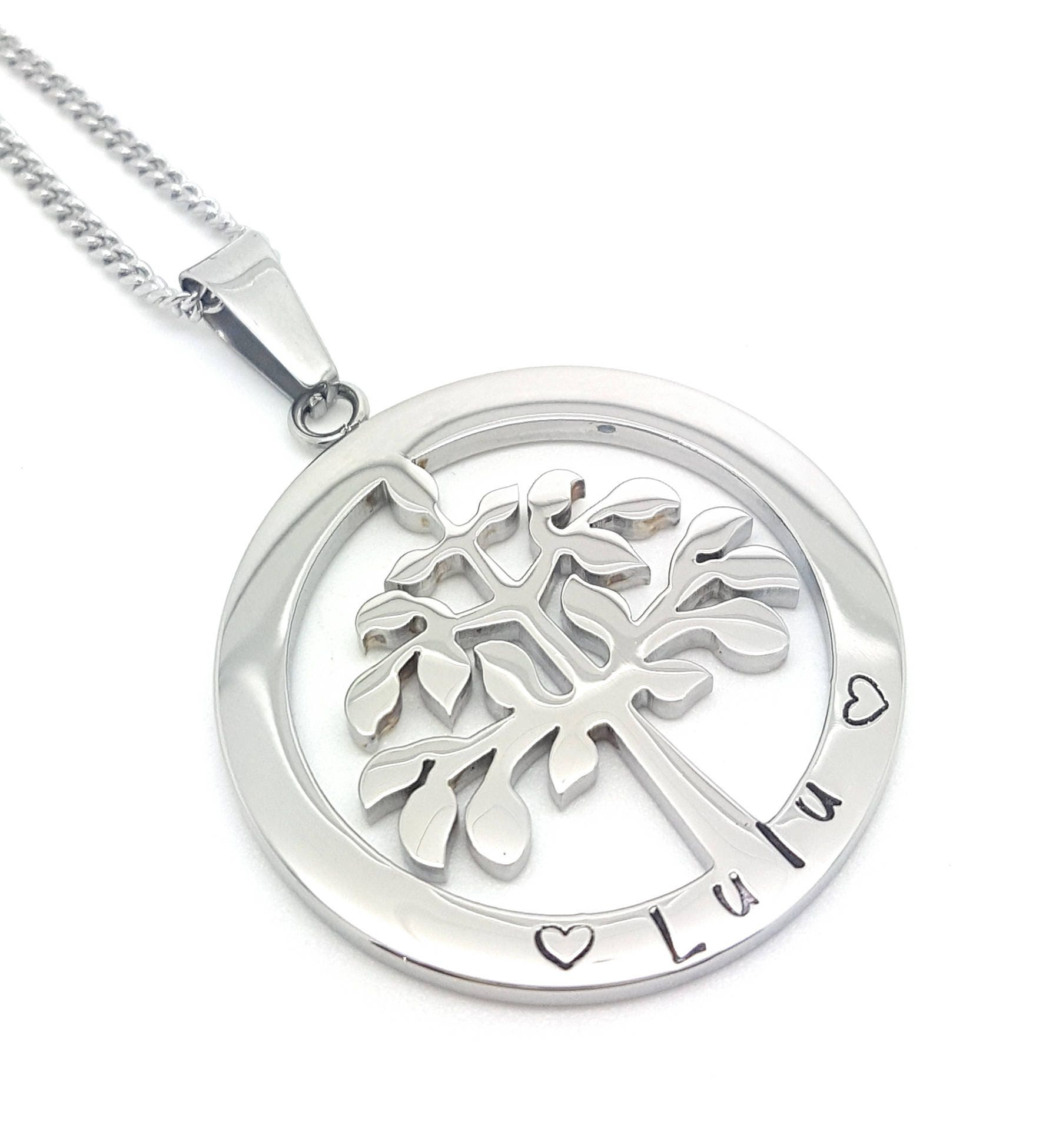 Family names tree of life pendant personalised jewellery hand family names tree of life pendant personalised jewellery hand stamped name necklaces silver family name pendants tree of life australia aloadofball Gallery