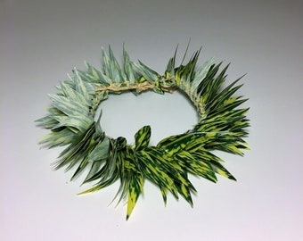 Doll Lei Po'o (head lei) - Green & Yellow Leaves