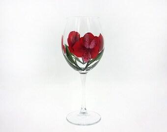 Hand Painted Red Peruvian Lily Wine Glass Alstroemeria Lilies Stemware