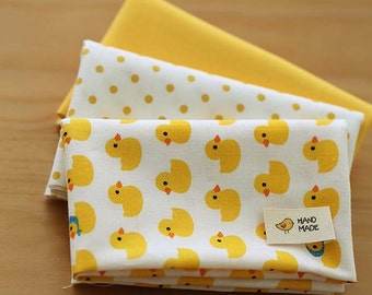 Lovely Yellow chick on Cotton FAT Eighth set of 3, U228