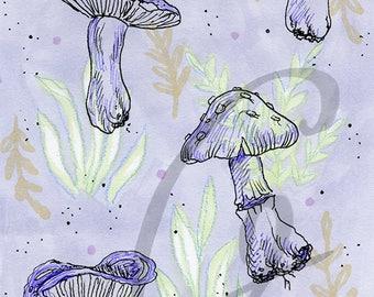 Fungi Print in Lavender