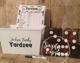 Yardzee, yard dice game, personalized game, family games