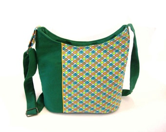 canvas crossbody bag green with graphic multicolor fabric , bucket bag zippered vintage pattern , dark green shoulder bag , crossbody purse