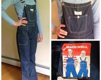 Vintage 1970s MADEWELL denim overalls, child's size 16 or womens size 0 petite, deadstock, NWT!