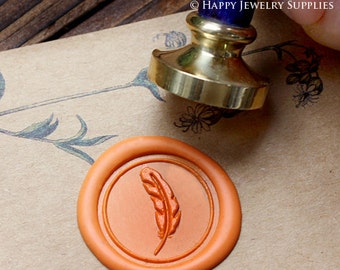 Buy 1 Get 1 Free - 1pcs Feather Gold Plated Wax Seal Stamp (WS047)