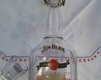 Rare Jim Beam Bourbon Two Hundred Years Of American History 200th Anniversary Issue Bottle, with Ceramic and Wire Stopper