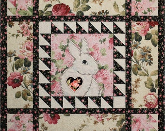 Pattern -- Easy Applique Bunny Baby Quilt -- Applique Bunny Sewing Pattern -- Hand or Fusible Applique Bunny Baby Quilt