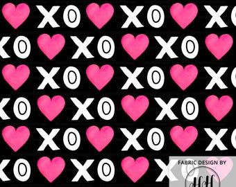 XOXO Heart Fabric - Black / Valentine's Day Fabric / Hugs and Kisses Fabric / Bold Watercolor Heart Print by the Yard & Fat Quarter