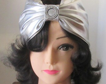 Metallic Silver Headband with Rhinestone Decor