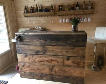 Reclaimed Industrial Chic Custom Made L Shape Corner Front Counter - Bar Cafe Restaurant Steel Solid Wood Metal Hand Made in Sheffield 553