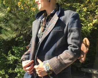Vintage tweed jacket with dog stuffed animal elbow pads!