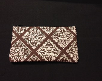 White Diamond Filigree on Brown Coin Purse, Pencil Case, Wristlet, Cosmetic Bag #49
