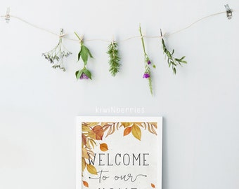 Autumn Wall Art - Fall Printables - Digital prints - Fall Wall Art - Autumn Print - Welcome sign -  Ochre amber - Welcome art prints