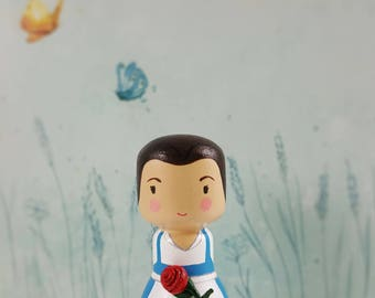 kokeshi Peg Doll Wooden Doll Princess Beauty from the movie The Beauty and the Beast