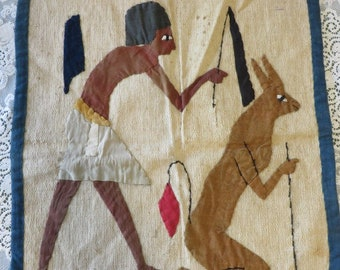 Antique African Quilt Art  //  Wall Hanging or Mat Hand Embroidered  //  Primitive African Fiber Art  //  Made in Africa