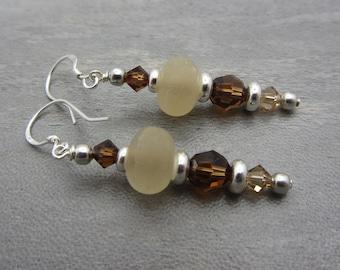 Crystal and Lampwork Glass Artisan Earrings Sterling Silver Earthtone Colors Pierced Beaded SRAJD USA Handmade